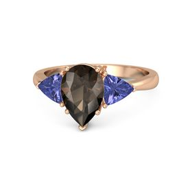 Pear Smoky Quartz 14K Rose Gold Ring with Tanzanite