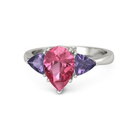 Pear Pink Tourmaline 14K White Gold Ring with Iolite