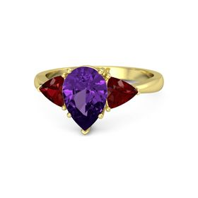 Pear Amethyst 14K Yellow Gold Ring with Ruby