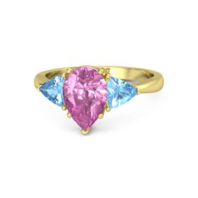 Pear Pink Sapphire 14K Yellow Gold Ring with Blue Topaz