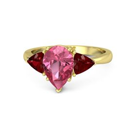 Pear Pink Tourmaline 14K Yellow Gold Ring with Ruby