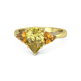 Pear Yellow Sapphire 14K Yellow Gold Ring with Citrine