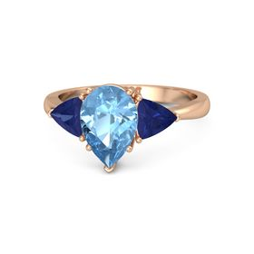 Pear Blue Topaz 18K Rose Gold Ring with Sapphire