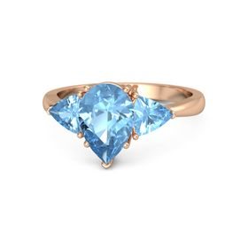 Pear Blue Topaz 18K Rose Gold Ring with Blue Topaz