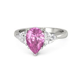 Pear Pink Sapphire 18K White Gold Ring with White Sapphire