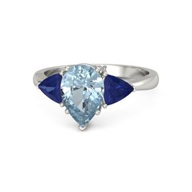 Pear Aquamarine 18K White Gold Ring with Blue Sapphire