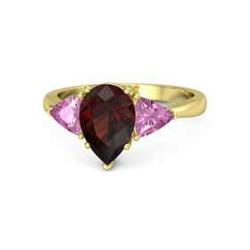 Pear Red Garnet 18K Yellow Gold Ring with Pink Sapphire