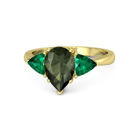 Pear Green Tourmaline 18K Yellow Gold Ring with Emerald