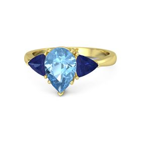 Pear Blue Topaz 18K Yellow Gold Ring with Blue Sapphire