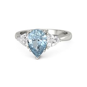 Pear Aquamarine Palladium Ring with White Sapphire