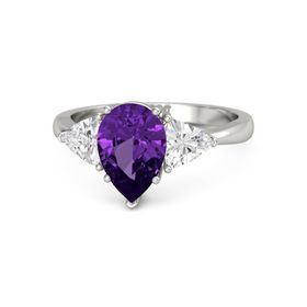 Pear Amethyst Platinum Ring with White Sapphire