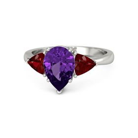 Pear Amethyst Platinum Ring with Ruby