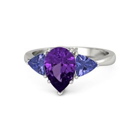 Pear Amethyst Platinum Ring with Tanzanite