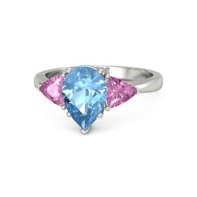 Pear Blue Topaz Platinum Ring with Pink Sapphire