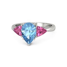Pear Blue Topaz Platinum Ring with Pink Tourmaline