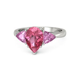 Pear Pink Tourmaline Platinum Ring with Pink Sapphire