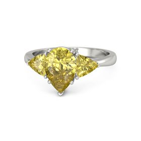 Pear Yellow Sapphire Platinum Ring with Yellow Sapphire