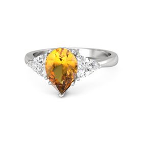Pear Citrine Sterling Silver Ring with White Sapphire