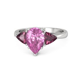 Pear Pink Sapphire Sterling Silver Ring with Rhodolite Garnet