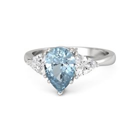 Pear Aquamarine Sterling Silver Ring with White Sapphire