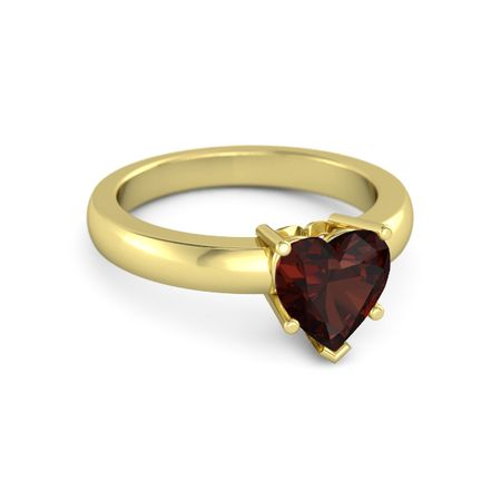 Heart Red Garnet 14K Yellow Gold Ring e Heart Ring