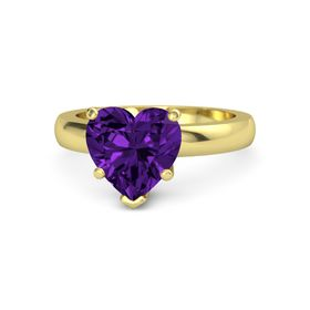 Heart Amethyst 14K Yellow Gold Ring