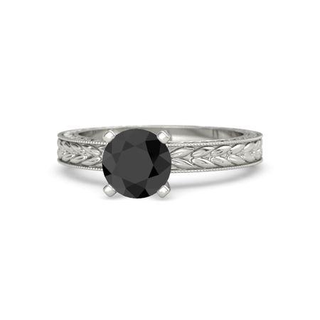 Round Black Diamond Platinum Ring | Charlotte Ring | Gemvara