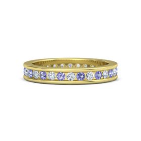 14K Yellow Gold Ring with Iolite & Diamond