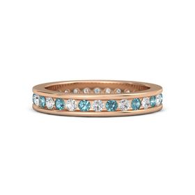 18K Rose Gold Ring with London Blue Topaz and White Sapphire