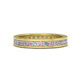 18K Yellow Gold Ring with Blue Topaz & Pink Tourmaline