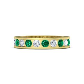 18K Yellow Gold Ring with Emerald and Diamond