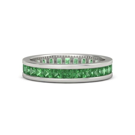 round wedding band bands gold eternity green emerald white
