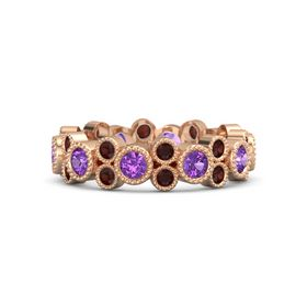14K Rose Gold Ring with Amethyst & Red Garnet