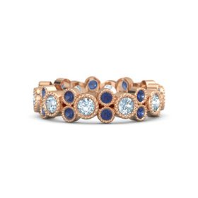 14K Rose Gold Ring with Aquamarine & Sapphire