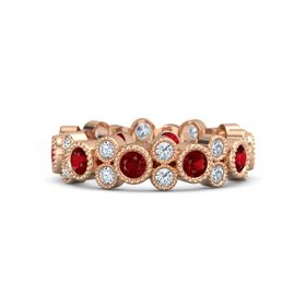 14K Rose Gold Ring with Ruby & Diamond