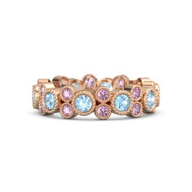 14K Rose Gold Ring with Blue Topaz & Pink Sapphire
