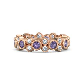 14K Rose Gold Ring with Iolite & Diamond