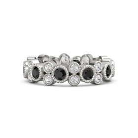 14K White Gold Ring with Black Diamond and White Sapphire
