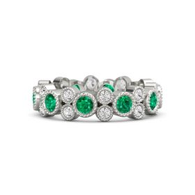 14K White Gold Ring with Emerald & White Sapphire