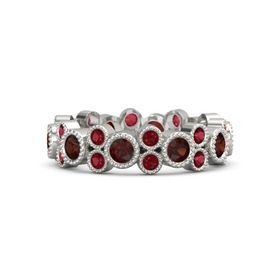 14K White Gold Ring with Red Garnet and Ruby