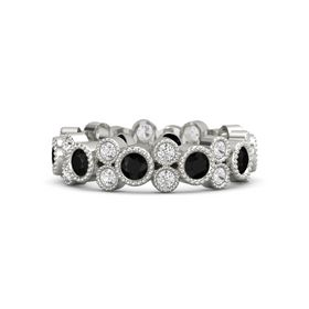 14K White Gold Ring with Black Onyx & White Sapphire