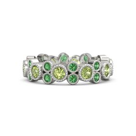 14K White Gold Ring with Peridot & Emerald