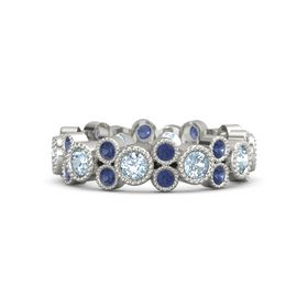 14K White Gold Ring with Aquamarine & Sapphire