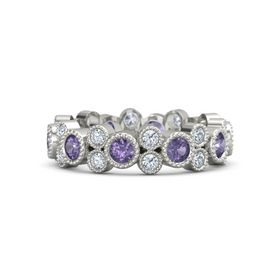14K White Gold Ring with Iolite & Diamond