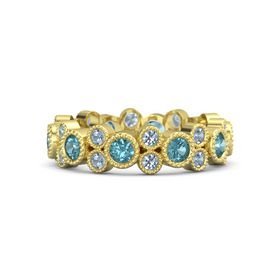 14K Yellow Gold Ring with London Blue Topaz and Blue Topaz