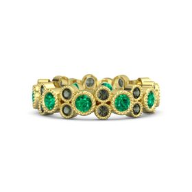 14K Yellow Gold Ring with Emerald & Green Tourmaline