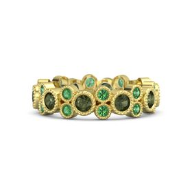 14K Yellow Gold Ring with Green Tourmaline and Emerald