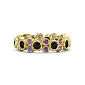 14K Yellow Gold Ring with Black Onyx & Amethyst