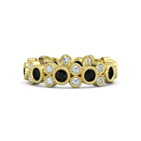 14K Yellow Gold Ring with Black Onyx & Diamond