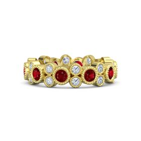 14K Yellow Gold Ring with Ruby & Diamond
